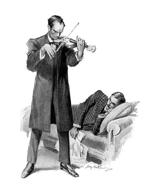 """sidgwicks: """" """" """"He began to play some low, dreamy, melodious air,"""" Illustration by Ugo Matania for """"Il segno dei quattro"""" [The Sign of Four], Il Romanzo Per Tutti (Vol. 4, No. 5), 1948. """" """""""
