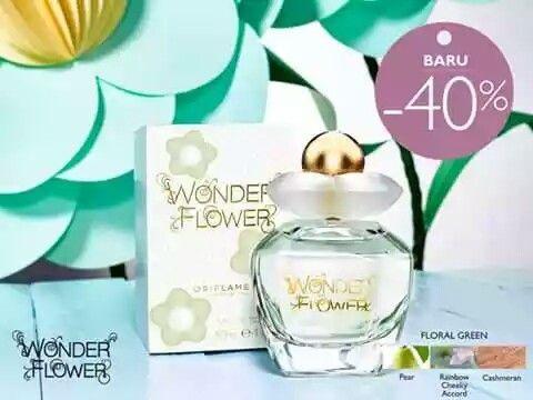 Wonderflower Eau de Toilette Dari Fragrance Family olfactive Floral Green, Wonderflower memancarkan semangat kebebasan dan sukacita. Kesegaran Pear dan Almond Flower berpadu unik pada top note, keceriaan pelangi terpancar pada inti keharumannya, ditutup dengan end note lembut dari Cashmeran dan Ambergris. Rasakan indahnya keceriaan yang menyenangkan ini dan biarkan imajinasi Anda mengalir bebas tanpa batas.
