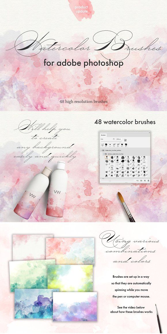 Watercolor Photoshop Brush Set By The Art Of Jenteva On