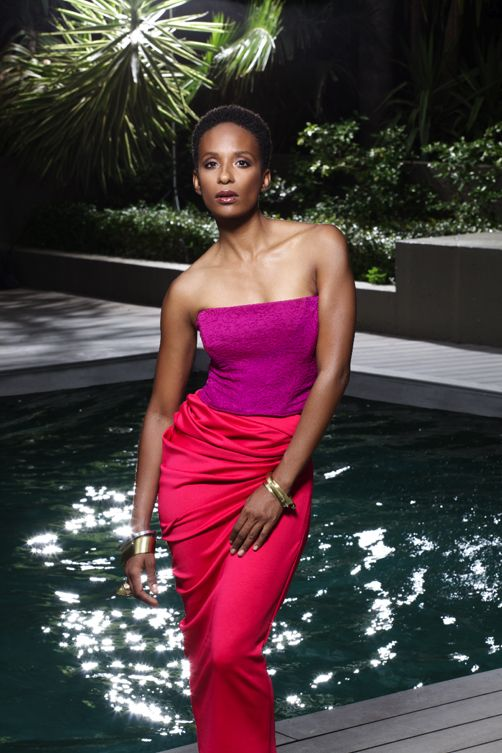 Lindiwe Suttle   What are the three most GLAMOURous things in your wardrobe?  'A vintage John Galliano gown, a Balenciaga leather jacket and my show costumes by SA designers.'