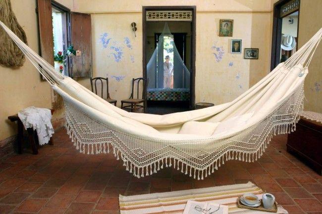 Brasilianische Hängematte natur Baumwolle mit Macrame Rand ✔ Versandkostenfrei* | Hängemattenshop.com