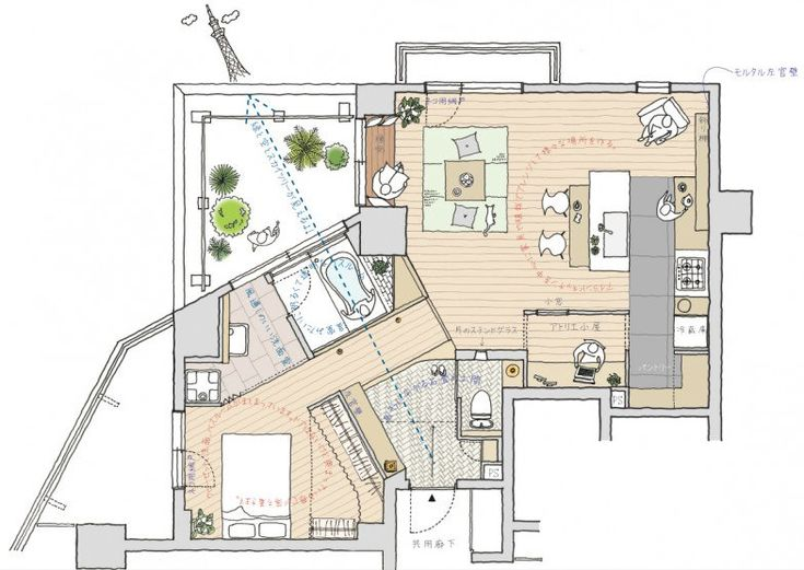 Iさんの家 13年間暮らしてきた2LDK、65m2のマンションの夫婦と猫の住まいのリノベーションです。奥にあった暗い浴室を明るく開放的にすることと、ワンルームで伸びやかな家にすることが目的でした。L字