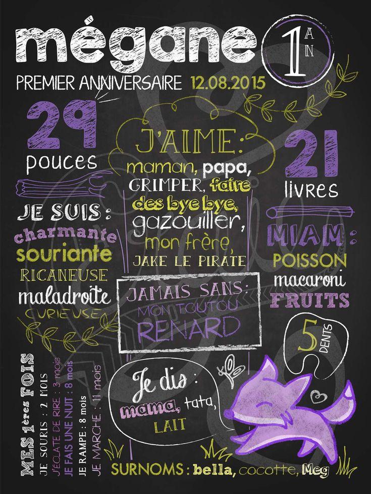 Affiche personnalisée 1er anniversaire Renarde en fuite | 28,00$ #chalkboard