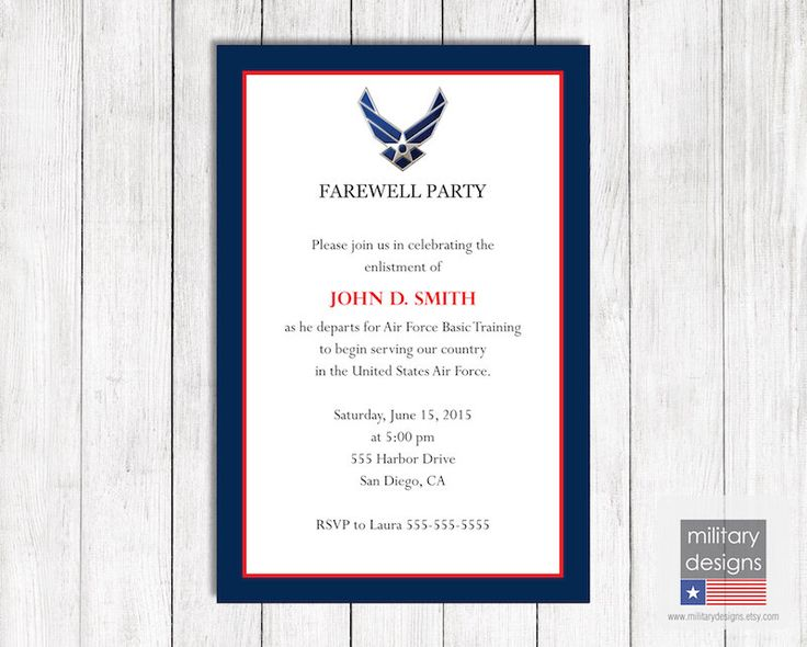 Air Force Farewell Invitation, Printable US Air Force Farewell Invitation, Military Farewell Invitation, Military Farewell Party Invite by MilitaryDesigns on Etsy https://www.etsy.com/listing/213813258/air-force-farewell-invitation-printable