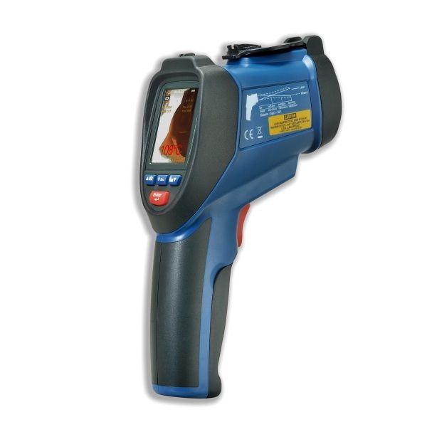"""http://www.termometer.se/OBS-FYND-PRISER/IR-Termometer-med-inbyggd-kamera-och-TFT-skarm-22.html  IR-Termometer med inbyggd kamera och TFT-skärm 2,2"""" - Termometer.se  Professionell infraröd """"värmekamera"""" med TFT färg-LCD display & kamerafunktion. Dubbla riktlasers för exakt lokalisering av mätstället.  CIR9860 är en helt ny konstruerad IR-termometer med inbyggd kamera för dokumentation av temperatur på målytan. Den har en 2.2 tum färg TFT LCD-display och ett mikro SD minneskort..."""