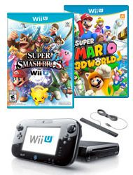 "The Nintendo Wii U 32GB Blast from the Past Must Plays Bundle includes: Nintendo Wii U  -  32GB - Black (GameStop Premium Refurbished Console), and ""Super Smash Brothers (Wii U)"", ""Super Mario 3D World"" pre-owned games for the Wii U."