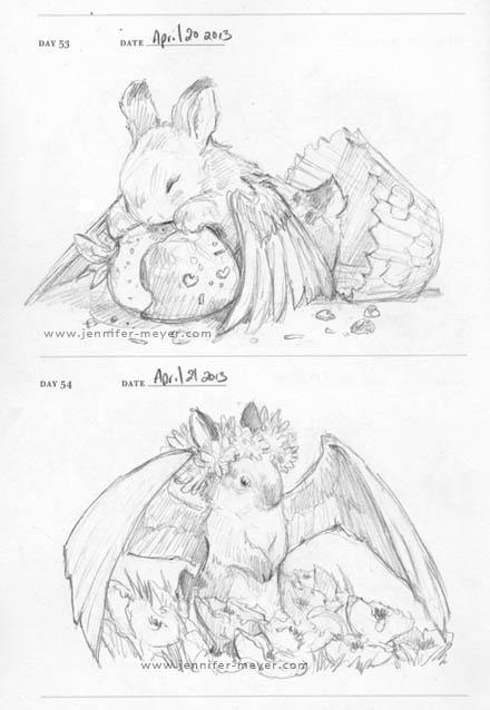 Winged Bunnies by JLMeyer #sketch #cute