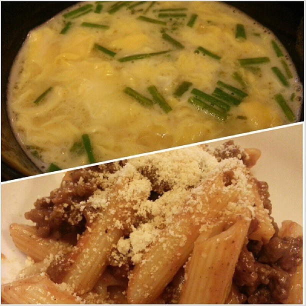 #egg#soup and #bolognese for #yummy#dinner#pasta#food#philippines#玉子スープ#ボロネーゼ#パスタ#晩ごはん#フィリピン