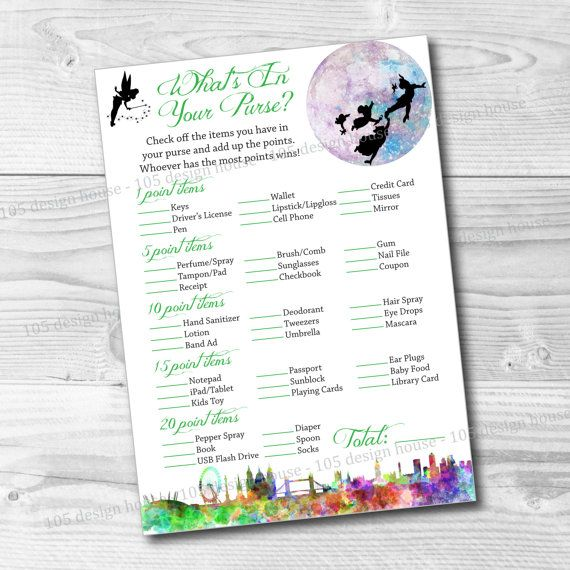 INSTANT DOWNLOAD Peter Pan Baby Shower Game by 105DesignHouse