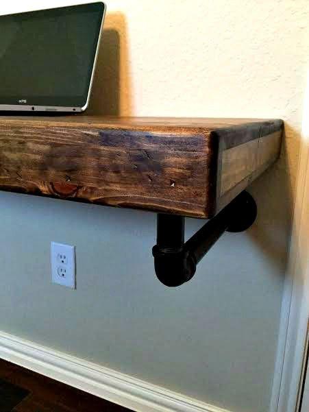Strong Solid Pine & Industrial Steel Artisan-Made Floating Work Desk