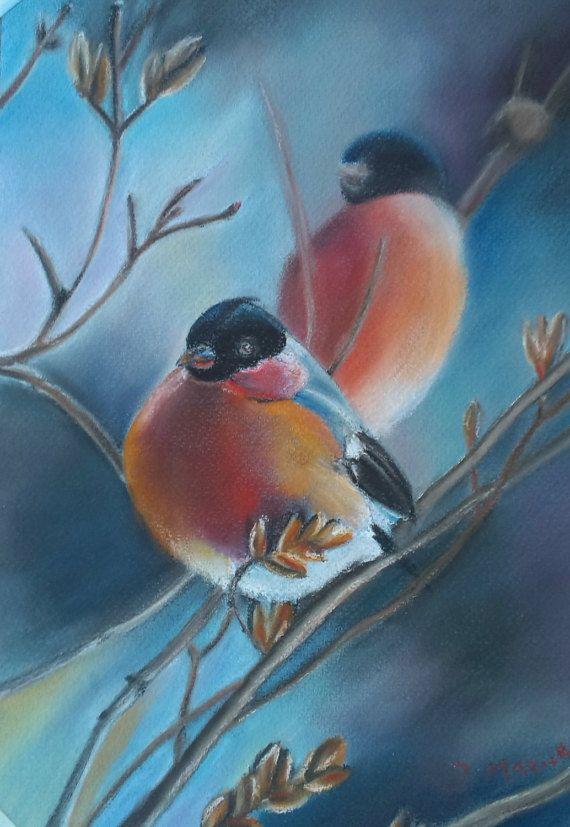 Winter birds Soft pastel art Wall artwork Original by JaneMStudio