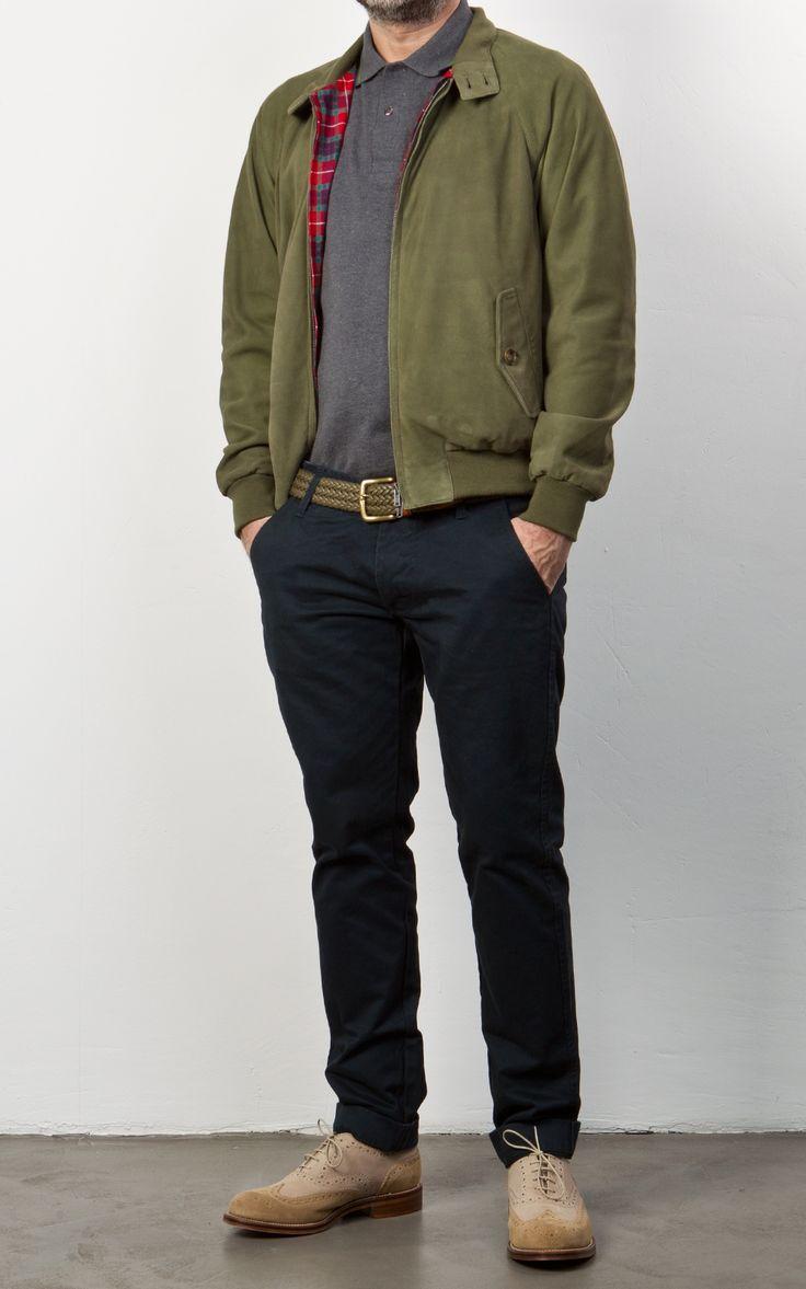 Baracuta G9 Slim Fit Harrington Jacket Leather Olive | Looks | Pinterest | Products Olives and Fit
