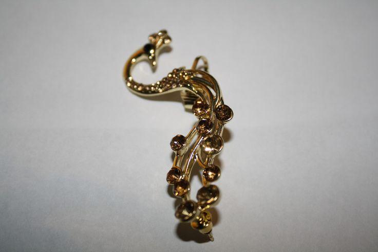 9k Gold Filled Peacock Champagne Austrian Crystal Ear Cuff #9k #ear #earcuff #earring #gold #jewelry #piercing #pretty #summer