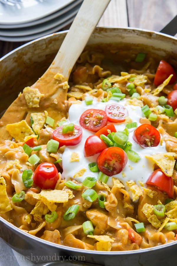 One Skillet Cheesy Chicken Nacho Supreme! My family LOVES this quick dinner recipe!!