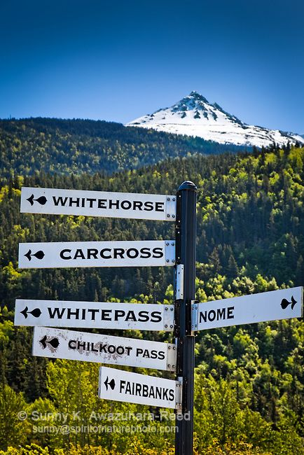 Sign in Skagway, Alaska, points the way to my old hometown of Whitehorse, YT.