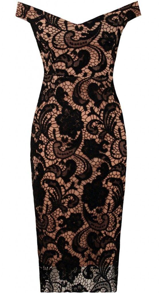 Ołówkowa sukienka koronkowa czarny z nude