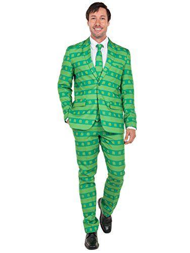 Tipsy Elves Men's ST. Patrick's Day Suit - Green ST. Paddy's Clover Suit: 44J/34P.