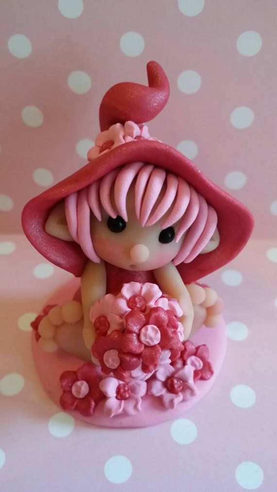 Sweetie Elf Love and Flowers Polymer Clay by Whimsybydesign1