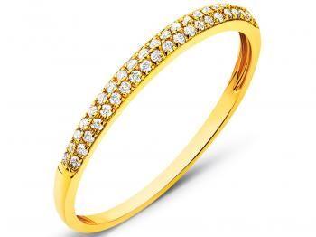 Pierścionek z żółtego złota z brylantami