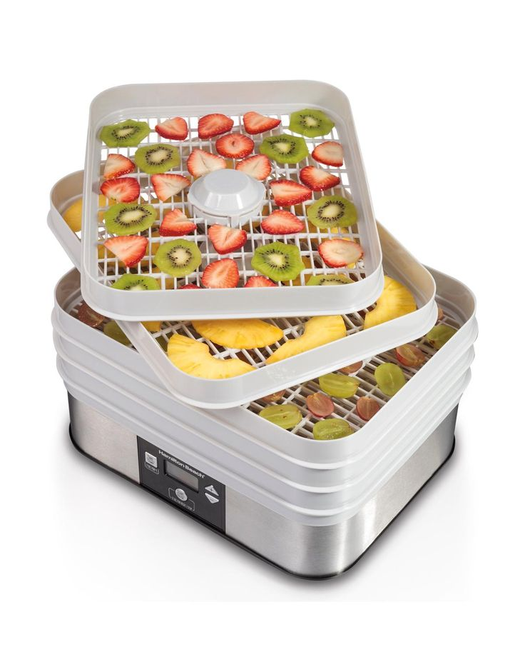 Hamilton Beach Food Dehydrator - food  dehydrators create healthy snacks without additives or preservatives. Perfect for drying fruits, vegetables, jerky & more.  5 stackable drying trays; 1 fine-mesh sheet for drying small food like herbs; 1 solid sheet for making fruit rolls.   (affiliate link)