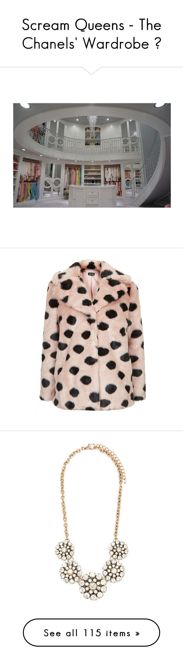 """""""Scream Queens - The Chanels' Wardrobe ♥"""" by chaneladdicted ❤ liked on Polyvore featuring ScreamQueens, thechanels, outerwear, coats, fur, jackets, pale pink, topshop, faux fur coats y polka dot coat"""