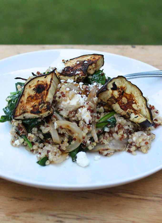 Quinoa with Grilled Eggplant, Spinach and Feta makes a tasty side or a ...