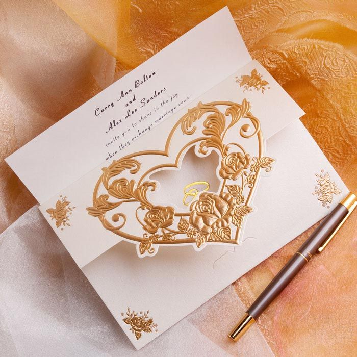 Elegant gold embossed folded wedding invitations EWRI001 as low as $1.39