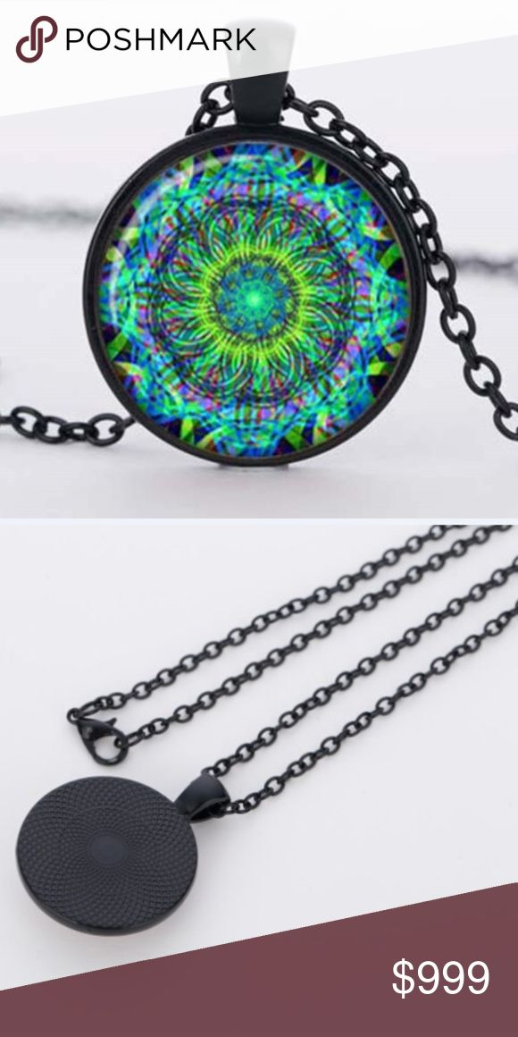 """COMING SOON!! Neon Mandala Ohm Cabochon Necklace Coming Soon!! (Price available upon arrival).  Brand new in original packaging.  Vibrant neon green, blue & electric purple & yellow mandala flower ohm yoga symbol buddhism within a dome glass cabochon.  Accented by the black color metal, this handmade necklace makes a statement! Weight:20g. Pendant: 2.5x2.5cm. Lobster clasp.  """"Like"""" to be notified of arrival! Jewelry Necklaces"""