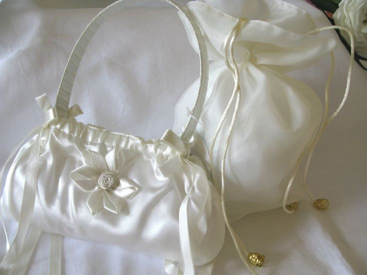 Pretty ivory & white hand dolly bag for bridesmaid flowergirl wedding communion