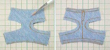 両面テープ デニムフリンジ水着ボトム 「パプペポ」着せ替え人形の手作り服の作り方