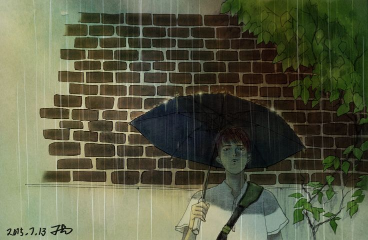 illust waiting for you under the rain