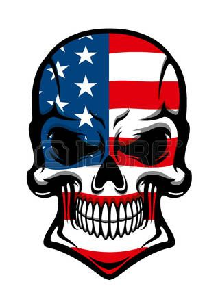 Human skull tattoo with American flag, isolated on white, for t-shirt or mascot design photo