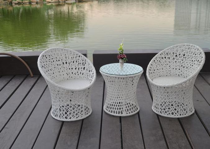 freeshipping PE rotin trois pièces table de thé en plein air suite de meubles en rotin tissage Le balcon mobilier de loisirs villa de jardin