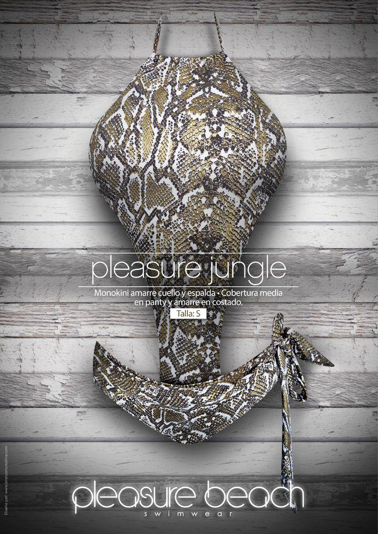 Pleasure jungle Monokini amarre cuello-cobertura media y amarre costado