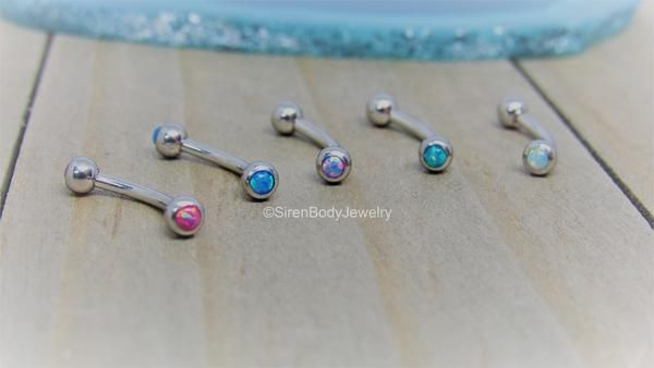"""Opal curved barbell 16g rook piercing bar daith piercing ring 5/16"""" vertical labret ring"""