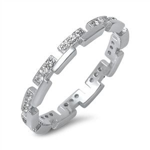 925 Sterling Silver CZ Simulated Diamond Greek Royalty Chain Pattern Ring 2MM