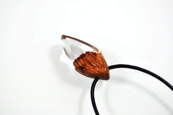 Necklace with wood and resin  transparent Resin Wood Resin jewellery jewelry necklace