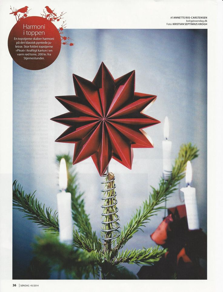 Pleat tree topper dark red star. Picture from the Magazine Søndag week 45 2014. #treetoppers #red #Christmas #paperfolding #origami