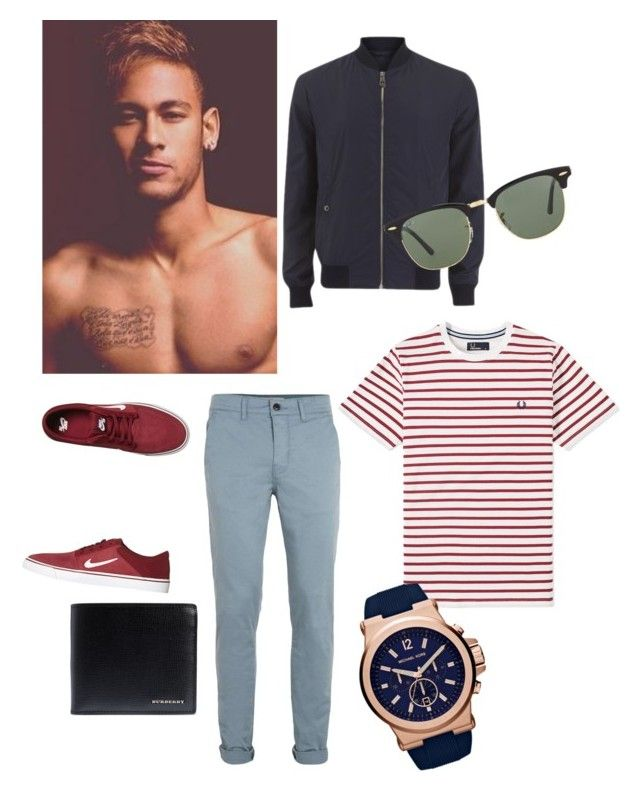 """Style"" by fashion-girl-katrina on Polyvore featuring Versace, Topman, Fred Perry, NIKE, Burberry, Ray-Ban, mens, men, men's wear and mens wear"