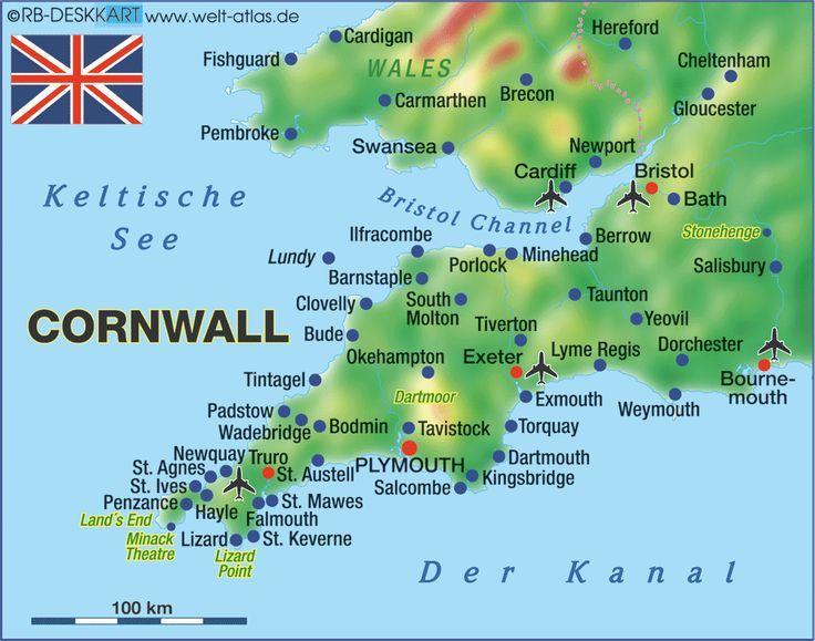 Cornwall England Karte Von Cornwall Grossbritan Cornwall