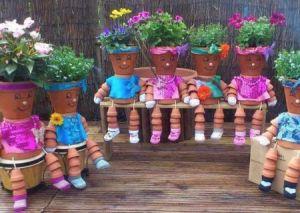 Clay Pot People Planters garden decor