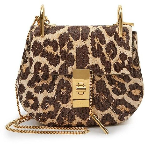 Chloe Drew Leopard Print Mini Shoulder Bag ($1,930) ❤ liked on Polyvore featuring bags, handbags, shoulder bags, apparel & accessories, leopard, brown leather purse, mini purse, brown shoulder bag, leopard print handbags and brown purse