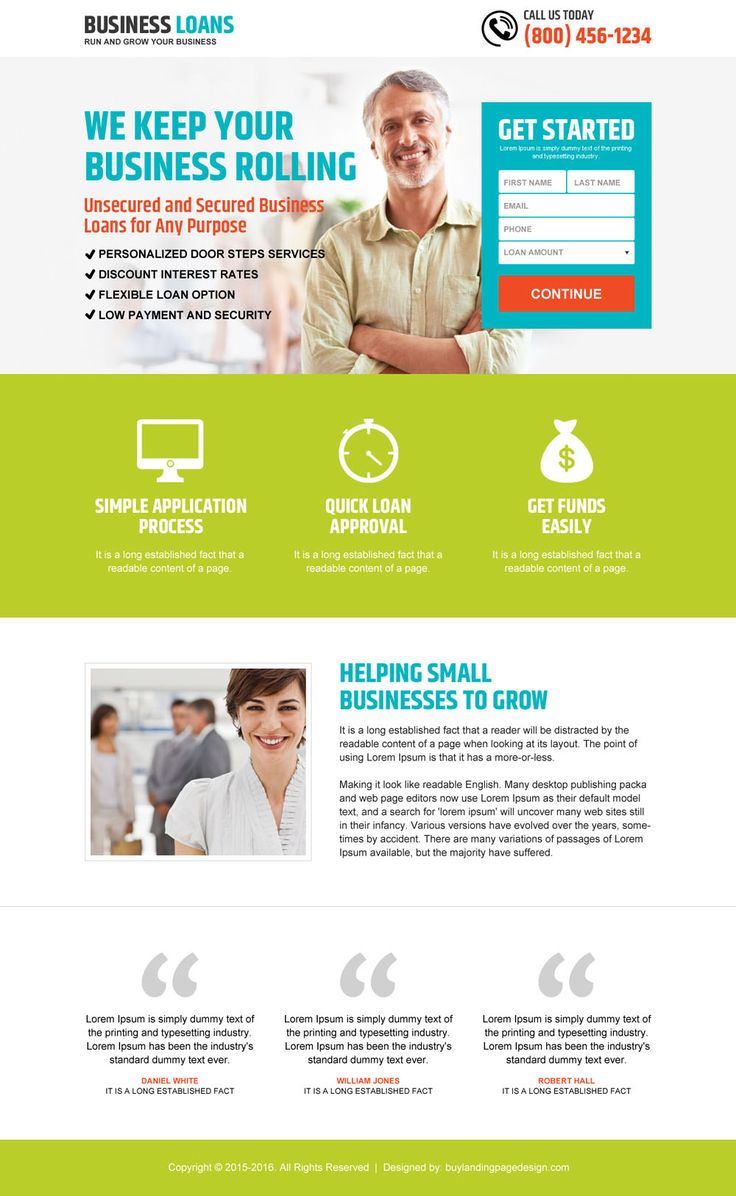 responsive grow your business with loan landing page design