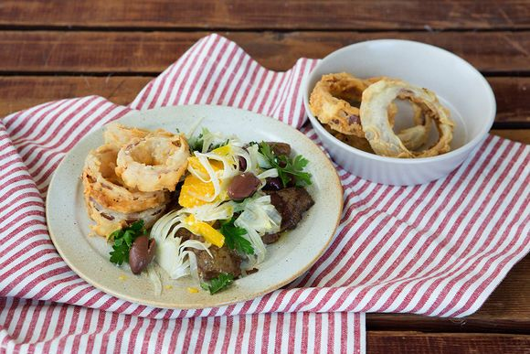 Lamb's Fry with Buttermilk & Thyme Onion Rings - Maggie Beer