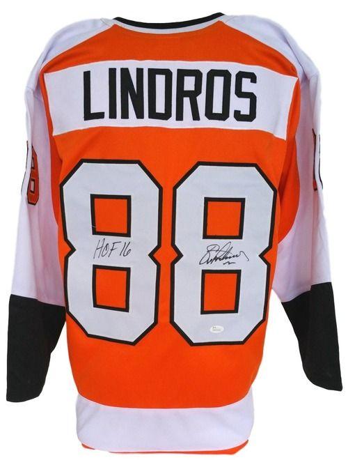 Eric Lindros Signed Orange Custom Jersey Inscribed HOF 16 JSA