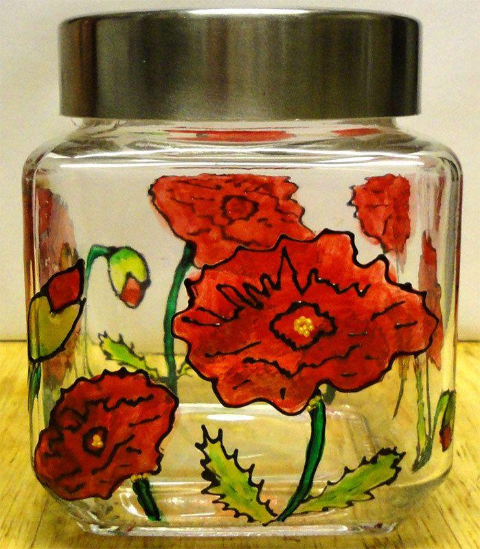 Designer Hand Painted Midi Poppy Pattern Storage Jar by HandPaintedJar on Etsy