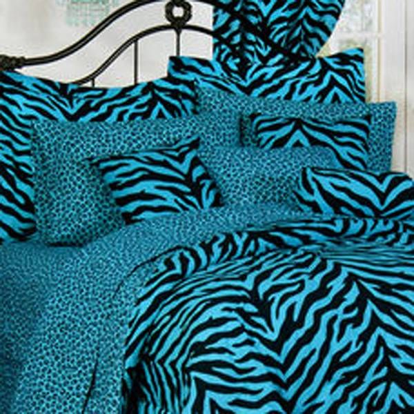 Karin Maki Blue Zebra & Leopard Bedding By Karin Maki Bedding, Comforters, Comforter Sets, Duvets, Bedspreads, Quilts, Sheets, Pillows: The Home Decorating Company