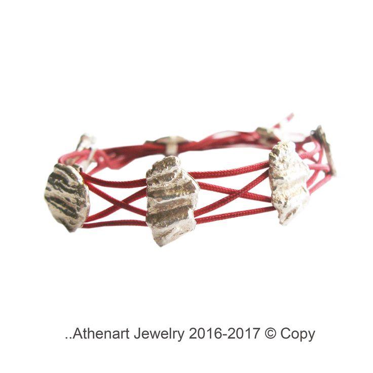 Handmade silver bracelet /braided bracelet /red bracelet