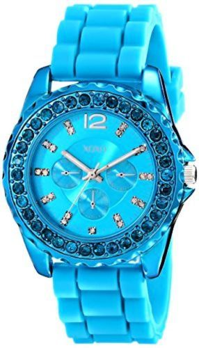 Womens 64519: Xoxo Xo8043 Womens Rhinestone Accent Turquoise Silicone Strap Watch -> BUY IT NOW ONLY: $38.98 on eBay!