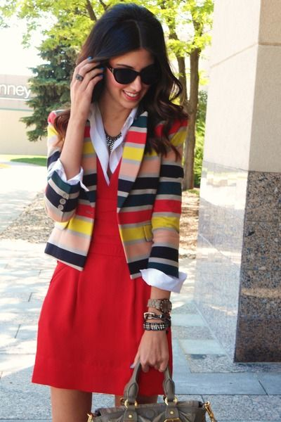 Red dress with colorful jacket: Fashion Style, Newmod Nicefashion, Color Stripes, Style Inspiration, Fruit Stripes, Jackets Newfashion, Dresses, Stripes Blazers, Stripes Jackets